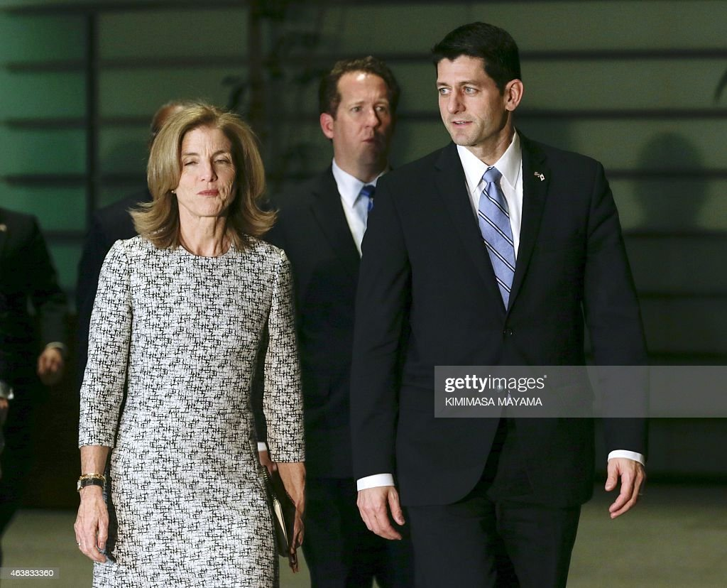 US House of Representatives Ways and Means Committee Chairman <a gi-track='captionPersonalityLinkClicked' href=/galleries/search?phrase=Paul+Ryan+-+Politician&family=editorial&specificpeople=7641535 ng-click='$event.stopPropagation()'>Paul Ryan</a> (R) and US Ambassador to Japan Caroline Kennedy walk toward a meeting room for talks with Japanese Prime Minister Shinzo Abe on Trans-Pacific Partnership (TPP) and other issues at the start of talks at the latter's official residence in Tokyo in Tokyo on February 19, 2015. A US congressional delegation led by Representative Ryan is here to exchange views with Japanese officials including Prime Minster Shinzo Abe and Foreign Minister Fumio Kishida. AFP PHOTO / POOL