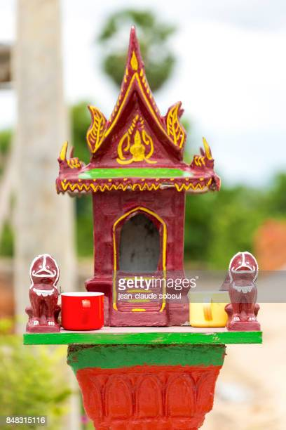House of spirits,on the street, in Kampot (cambodia)