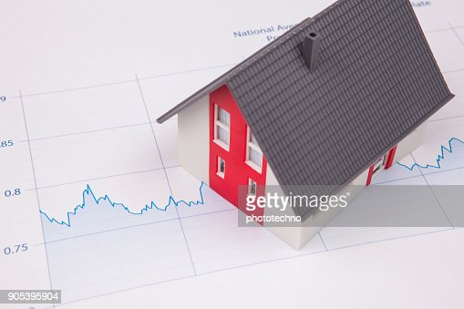 House on A Financial Graph : Stock Photo