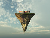 House on a piece of land floating in the sky