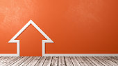 White House Outline Shape on Wooden Floor Against Orange Wall with Copyspace 3D Illustration