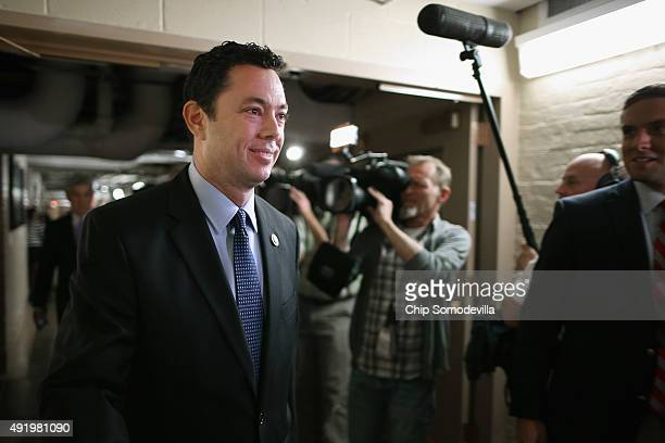 House Oversight and Government Reform Chairman Jason Chaffetz heads for a House Republican caucus meeting in the basement of the US Capitol October 9...