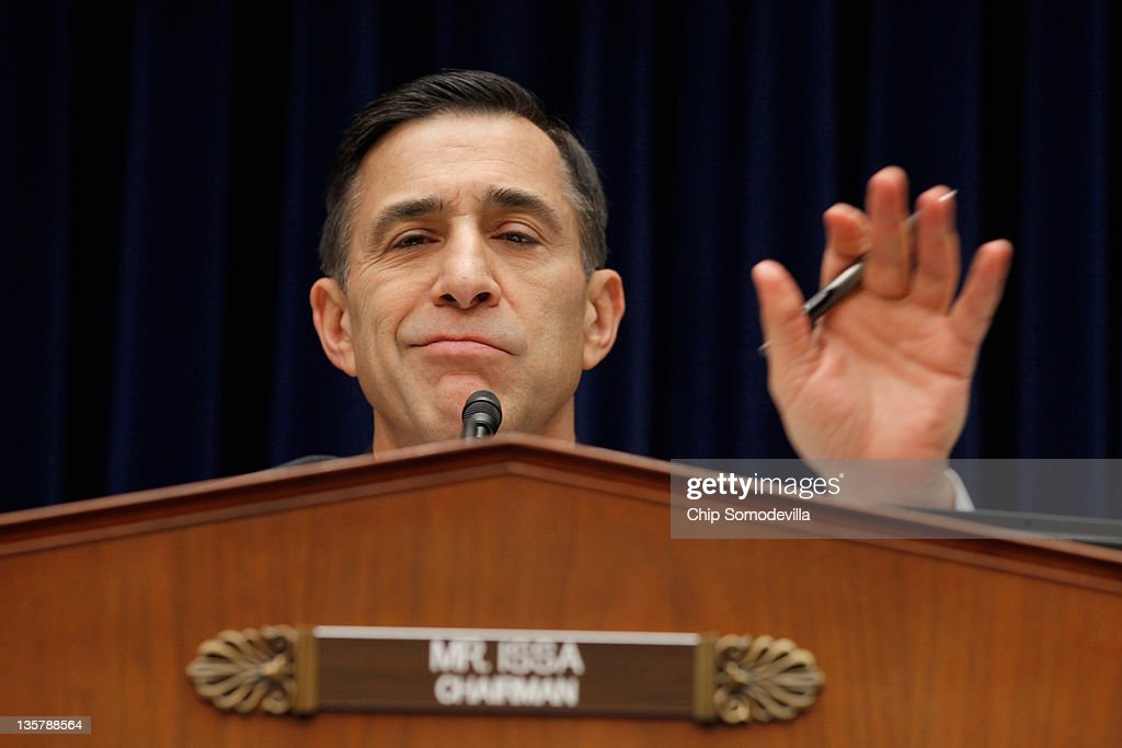House Oversight And Government Reform Committee Chairman <a gi-track='captionPersonalityLinkClicked' href=/galleries/search?phrase=Darrell+Issa&family=editorial&specificpeople=2263419 ng-click='$event.stopPropagation()'>Darrell Issa</a> questions members of the Nuclear Regulatory Commission during a hearing December 14, 2011 in Washington, DC. In October the four commissioners sent a letter White House Chief of Staff William Daley expressing 'grave concerns' that NRC Chairman Gregory Jaczko's deficiencies as a leader could compromise nuclear safety.