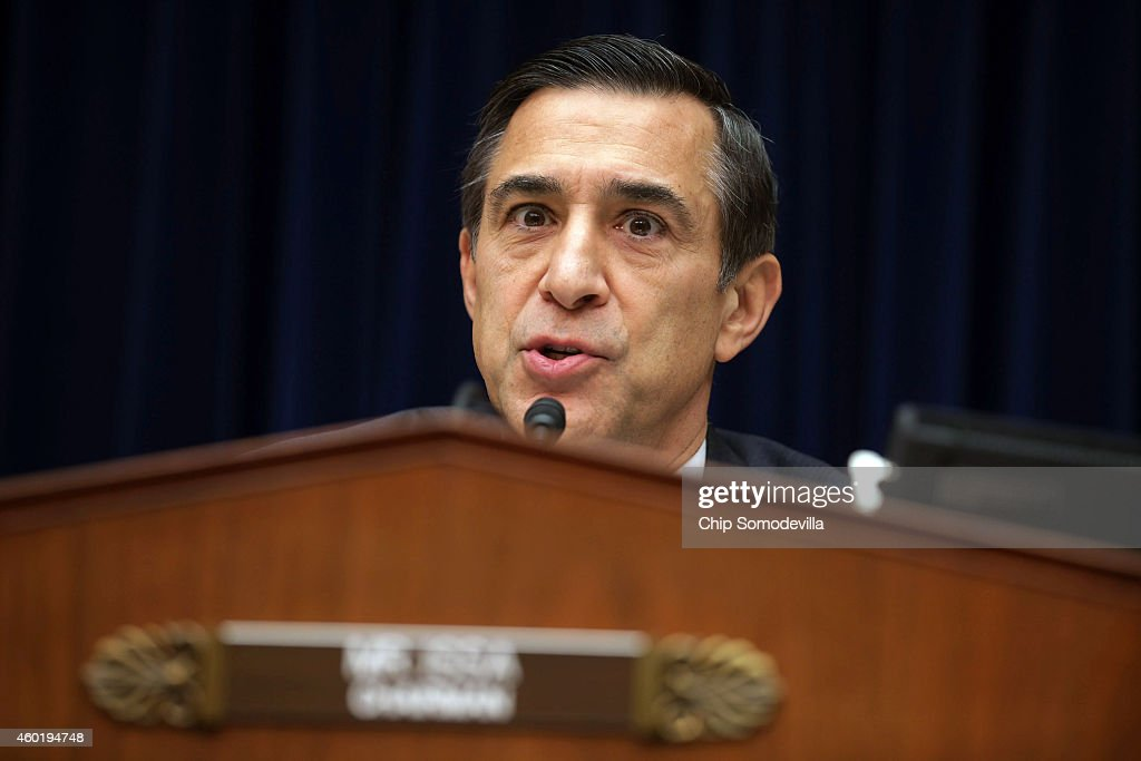 House Oversight and Government Reform Committee Chairman <a gi-track='captionPersonalityLinkClicked' href=/galleries/search?phrase=Darrell+Issa&family=editorial&specificpeople=2263419 ng-click='$event.stopPropagation()'>Darrell Issa</a> (R-CA) questions Massachusetts Institute of Technology Economics professor Jonathan Gruber about his work on the Affordable Care Act during a hearing in the Rayburn House Office building on Capitol Hill December 9, 2014 in Washington, DC. Gruber, who was a consultant paid by the authors of the Affordable Care Act and the Massachusetts universal health care program, called voters stupid and said that Obamacare would not have passed if lawmakers had really known what was inside the legislation during an academic conference earlier this year.