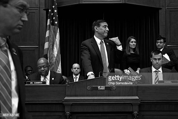House Oversight and Government Reform Committee Chairman Darrell Issa orders ranking member Rep Elijah Cummings' microphone turned off after...