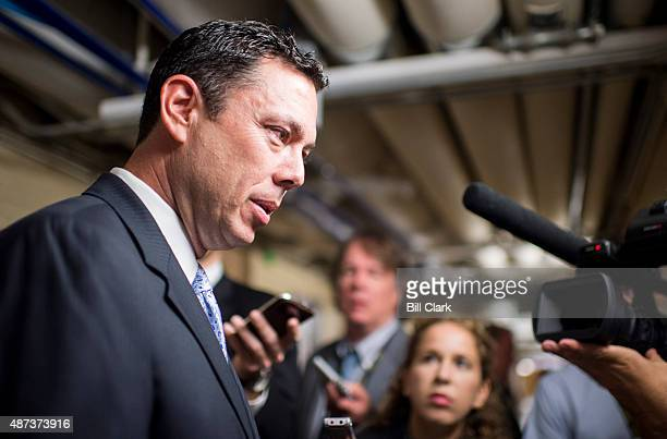 House Oversight and Government Reform Committee Chairman Jason Chaffetz RUtah speaks with reporters as he leaves the House Republican Conference...