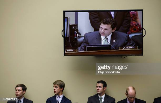 House Oversight and Government Reform Committee members US Rep Jason Chaffetz appears on a television screen during a fivehour mark up hearing on...