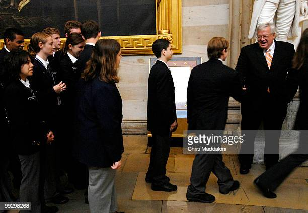 House pages line up to shake hands with Speaker of the House Dennis Hastert RIl in the Capitol Rotunda