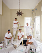House painters in freshly painted room