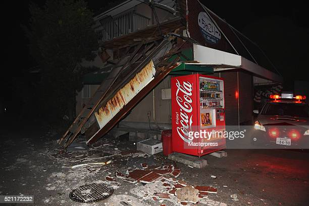 A house partially collapsed is seen after the earthquake on April 15 2016 in Mashiki Kumamoto Japan A powerful earthquake with a preliminary...