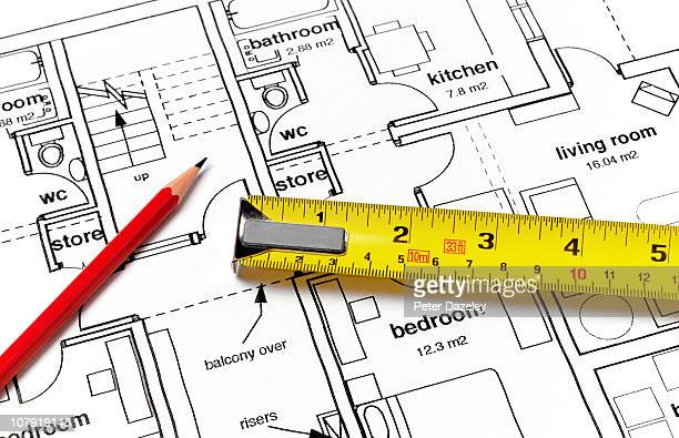 House plans with ruler and pencil