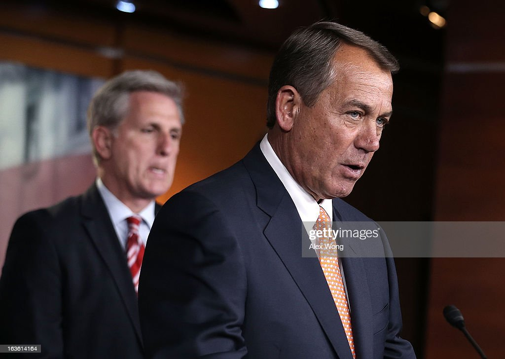U.S. House Rep. <a gi-track='captionPersonalityLinkClicked' href=/galleries/search?phrase=John+Boehner&family=editorial&specificpeople=274752 ng-click='$event.stopPropagation()'>John Boehner</a> (R-OH) (R) speaks as House Majority Whip Rep. Kevin McCarthy (R-CA) (L) looks on during a news conference after a meeting between President Barack Obama and the House Republican Conference at the U.S. Capitol March 13, 2013 on Capitol Hill in Washington, DC. President Obama traveled to the Hill to meet with Republican House members in a closed meeting.