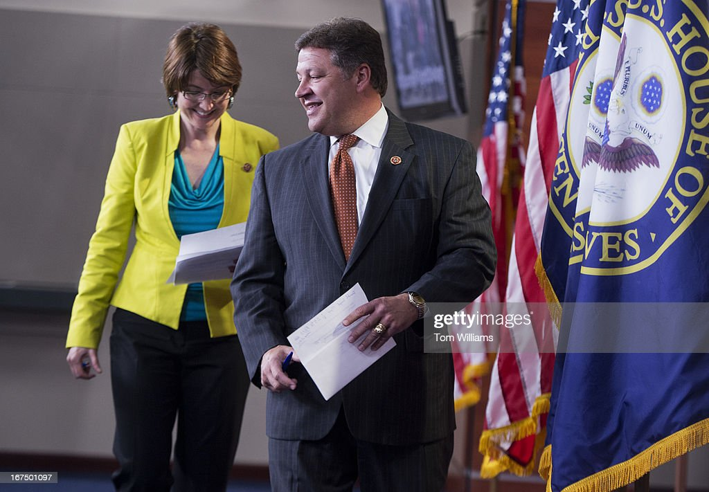 House Republican Conference Chair Cathy McMorris Rodgers, R-Wash., and House Transportation and Infrastructure Chairman Bill Shuster, R-Pa., arrive for news conference in the Capitol Visitor Center on Federal Aviation Administration flight delays due to furloughs for FAA employees.