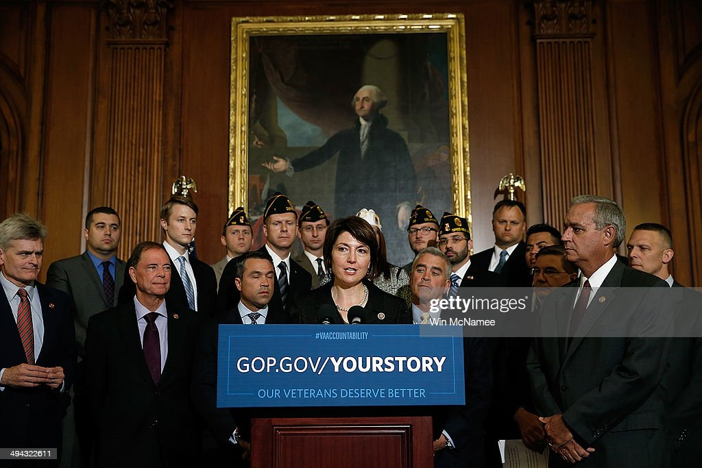 House Republican Conference Chair Rep. <a gi-track='captionPersonalityLinkClicked' href=/galleries/search?phrase=Cathy+McMorris+Rodgers&family=editorial&specificpeople=5685653 ng-click='$event.stopPropagation()'>Cathy McMorris Rodgers</a> (R-WA) speaks during a news conference held by House Republicans on 'Protecting America's Veterans' at the U.S. Capitol May 29, 2014 in Washington, DC. Rep. Jeff Miller (R-FL), Chairman of the House Veterans Affairs Committee, and other leading Republicans have called for Secretary of Veterans Affairs Eric Shinseki to step down in the wake of an unfolding scandal relating to treatment of U.S. Veterans detailed in a recent investigative report.
