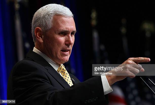House Republican Conference Chairman Mike Pence delivers remarks at the Conservative Political Action Conference annual meeting February 19 2010 in...