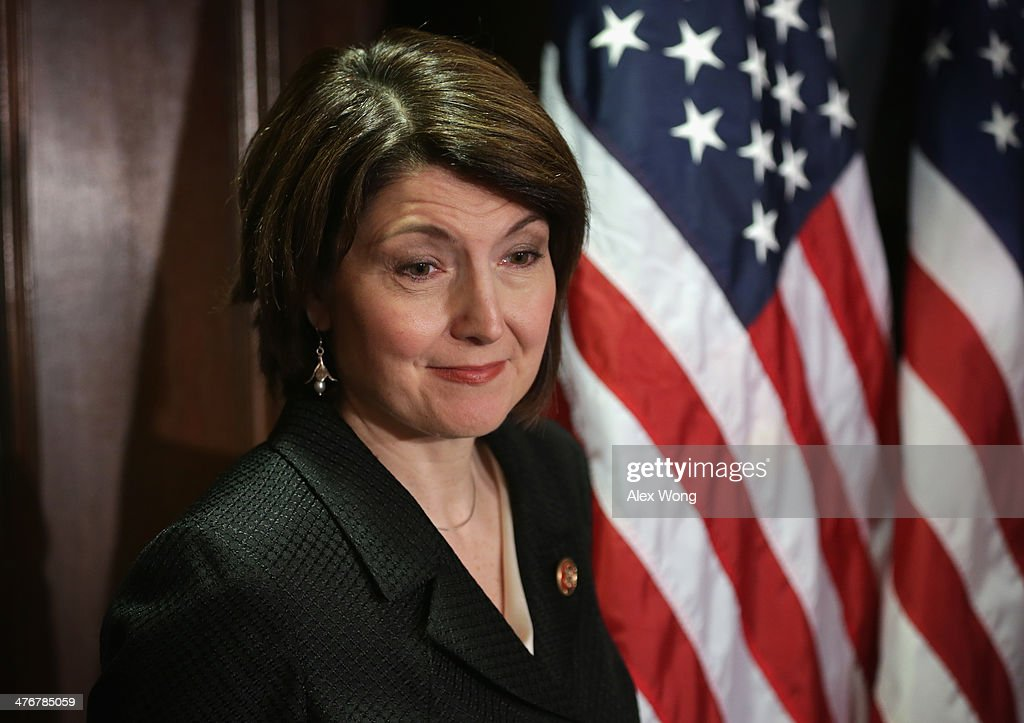 U.S. House Republican Conference Chairman Rep. <a gi-track='captionPersonalityLinkClicked' href=/galleries/search?phrase=Cathy+McMorris+Rodgers&family=editorial&specificpeople=5685653 ng-click='$event.stopPropagation()'>Cathy McMorris Rodgers</a> (R-WA) listens during a briefing March 5, 2014 at the headquarters of the Republican National Committee in Washington, DC. House Republicans briefed members of the media after a closed conference meeting.