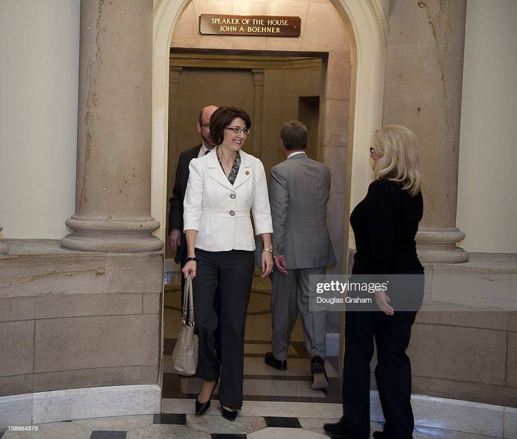 House Republican Conference Vice Chair Cathy McMorris Rogers, R-Wash., leaves the Speakers Office in the U.S. Capitol on January 4, 2013.