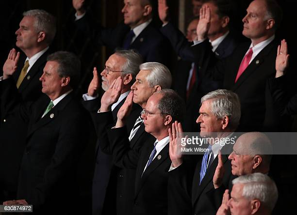 House Republicans are sworn in during a session in the House Chamber January 3 2017 in Washington DC Today the House of Representatives reconvened...