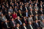 House Republicans listens during President Barack Obama's speech on jobs to a joint session of Congress on Thursday Sept 8 2011