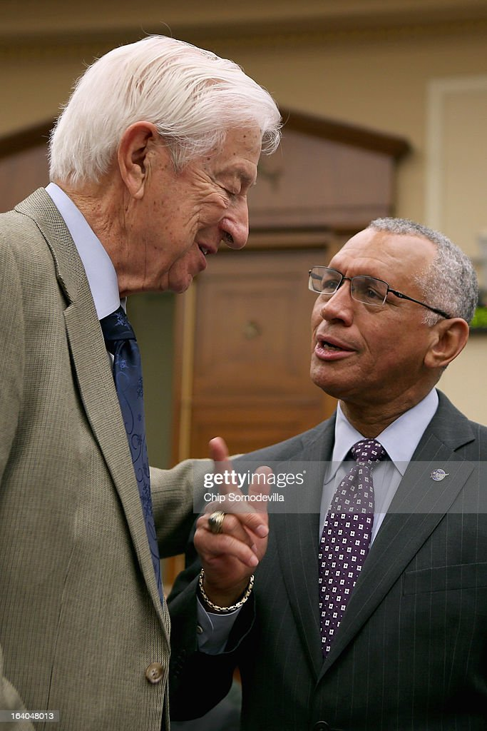 House Science, Space and Technology Committee member Rep. Ralph Hall (R-TX) talks with NASA Administrator Charles Bolden Jr. before a hearing in the Rayburn House Office Building on Capitol Hill March 19, 2013 in Washington, DC. The committee asked government and military experts about efforts to track and mitigate asteroids, meteors and other 'near-Earth objects.'