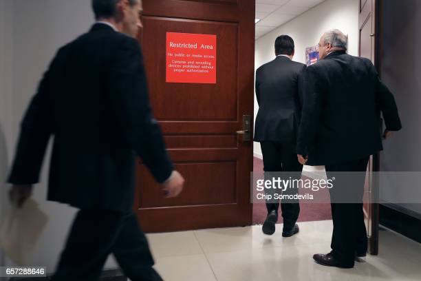 House Select Committee on Intelligence Chairman Devin Nunes heads back into the committee offices after talking to reporters in the Capitol Visitors...