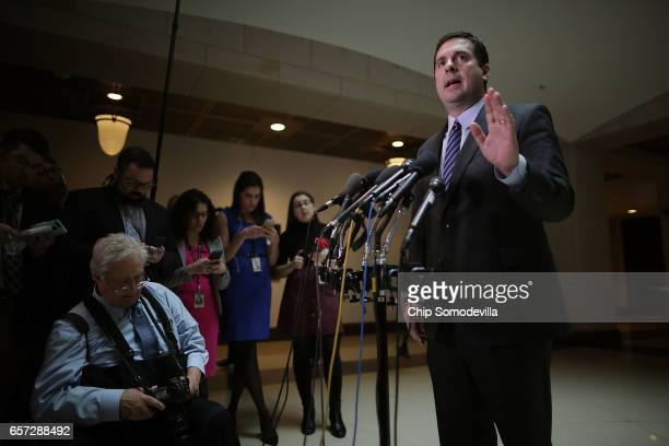 House Select Committee on Intelligence Chairman Devin Nunes talks to reporters in the Capitol Visitors Center March 24 2017 in Washington DC Nunes...