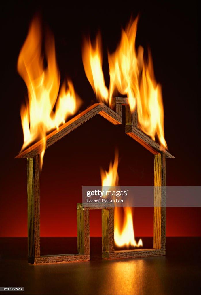House shape on fire