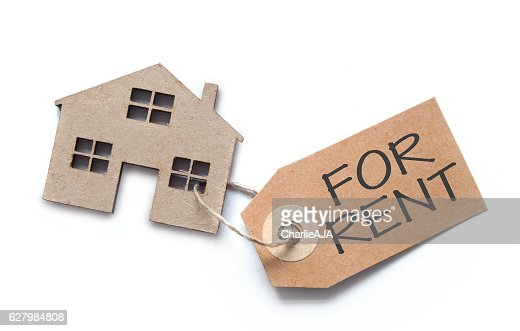House shape with rental label : Stock Photo