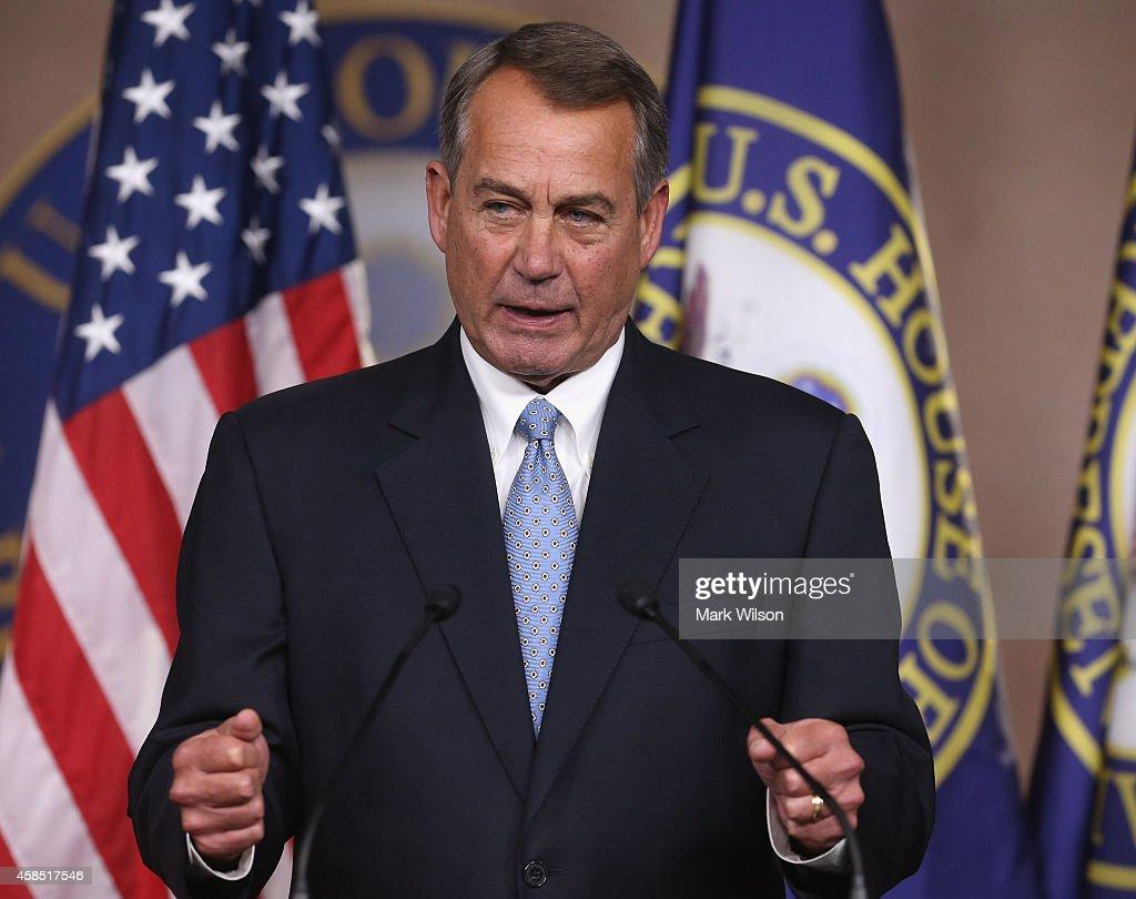 House Speaker Boehner John Boehner speaks to the media during a news conference at the US Capitol November 6 2014 in Washington DC 2014 in Washington...