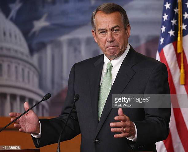 House Speaker Boehner John Boehner speaks to the media on US Capitol May 21 2015 in Washington DC Speaker Boehner talked about the situation in Iraq...