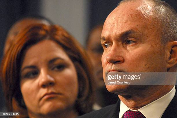 House Speaker Christine Quinn and Police Commissioner Raymond W Kelly at the press conference following closed door meeting between Mayor Michael...