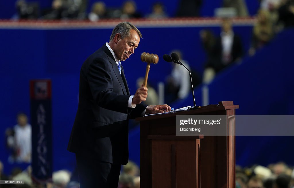 House Speaker John Boehner, a Republican from Ohio, bangs the gavel to adjourn the Republican National Convention (RNC) in Tampa, Florida, U.S., on Thursday, Aug. 30, 2012. Republican presidential nominee Mitt Romney, a wealthy former business executive who served as Massachusetts governor and as a bishop in the Mormon church, is under pressure to show undecided voters more personality and emotion in his convention speech tonight, even as fiscal conservatives in his own party say he must more clearly define his plans for reining in the deficit and improving the economy. Photographer: Andrew Harrer/Bloomberg via Getty Images