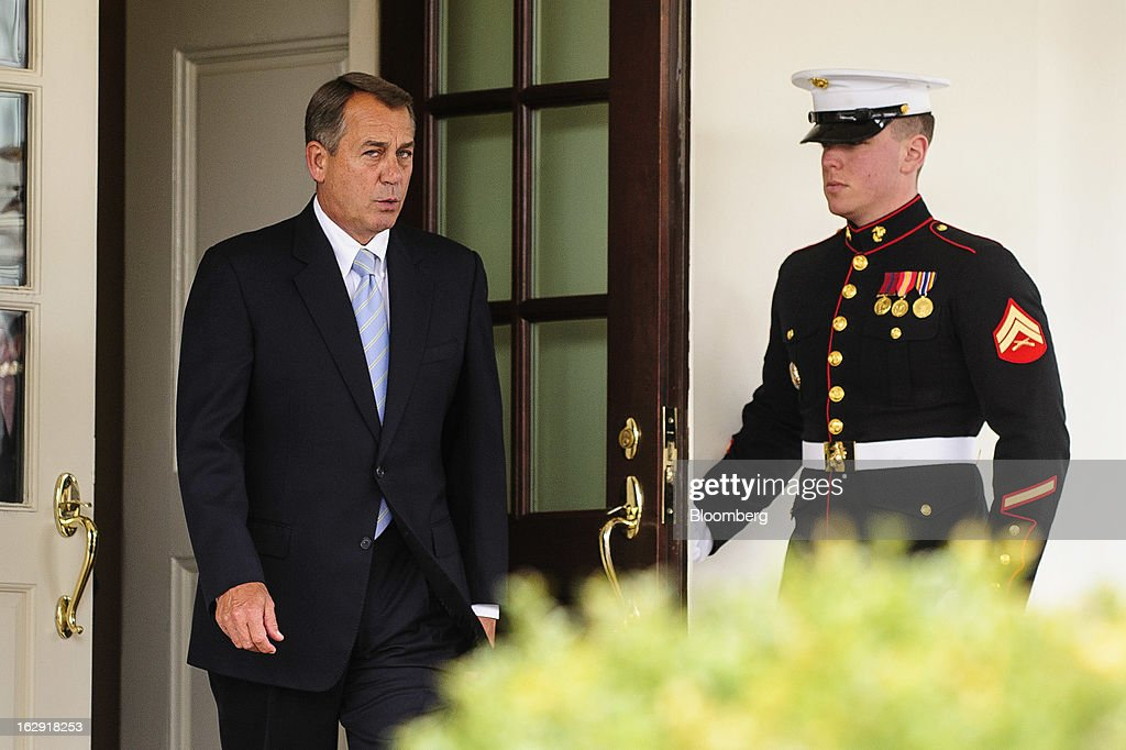 House Speaker <a gi-track='captionPersonalityLinkClicked' href=/galleries/search?phrase=John+Boehner&family=editorial&specificpeople=274752 ng-click='$event.stopPropagation()'>John Boehner</a>, a Republican from Ohio, departs from the West Wing of the White House following a meeting with President Barack Obama and congressional leaders in Washington, D.C., U.S., on Friday, March 1, 2013. Boehner said the House will vote next week on legislation to fund the government for the rest of the fiscal year so Congress won't have to deal with the risk of a government shutdown while negotiating an agreement on cutting the deficit. Photographer: Pete Marovich/Bloomberg via Getty Images