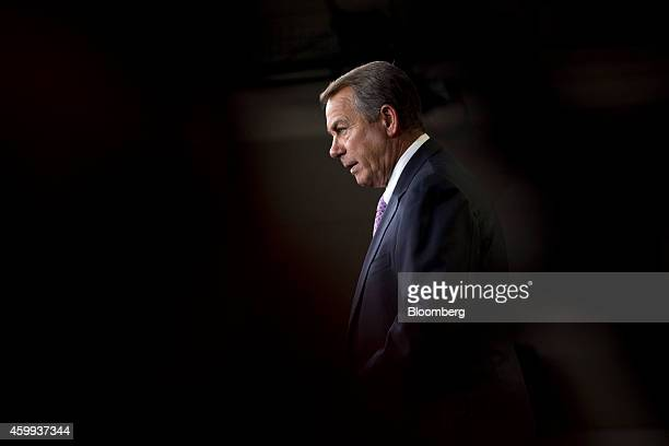 US House Speaker John Boehner a Republican from Ohio speaks at a news conference in Washington DC US on Thursday Dec 4 2014 House Republican leaders...