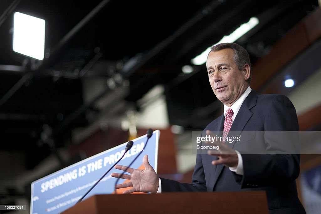 House Speaker <a gi-track='captionPersonalityLinkClicked' href=/galleries/search?phrase=John+Boehner&family=editorial&specificpeople=274752 ng-click='$event.stopPropagation()'>John Boehner</a>, a Republican from Ohio, speaks during a news conference in Washington, D.C., U.S., on Thursday, Dec. 13, 2012. Boehner repeated his insistence that President Barack Obama's budget proposal is 'anything but' balanced and accused the president of being 'not serious' about cutting spending. Photographer: Andrew Harrer/Bloomberg via Getty Images
