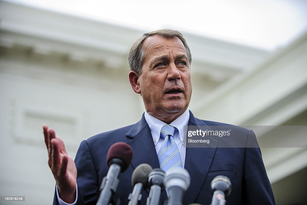 House Speaker <a gi-track='captionPersonalityLinkClicked' href=/galleries/search?phrase=John+Boehner&family=editorial&specificpeople=274752 ng-click='$event.stopPropagation()'>John Boehner</a>, a Republican from Ohio, speaks to the media outside the West Wing of the White House following a meeting with President Barack Obama and congressional leaders in Washington, D.C., U.S., on Friday, March 1, 2013. Boehner said the House will vote next week on legislation to fund the government for the rest of the fiscal year so Congress won't have to deal with the risk of a government shutdown while negotiating an agreement on cutting the deficit. Photographer: Pete Marovich/Bloomberg via Getty Images