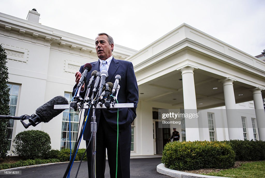 House Speaker John Boehner, a Republican from Ohio, speaks to the media outside the West Wing of the White House following a meeting with President Barack Obama and congressional leaders in Washington, D.C., U.S., on Friday, March 1, 2013. Boehner said the House will vote next week on legislation to fund the government for the rest of the fiscal year so Congress won't have to deal with the risk of a government shutdown while negotiating an agreement on cutting the deficit. Photographer: Pete Marovich/Bloomberg via Getty Images