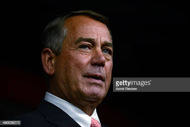 House Speaker John Boehner announces his resignation during a press conference on Capitol Hill September 25 2015 in Washington DC After 25 years in...