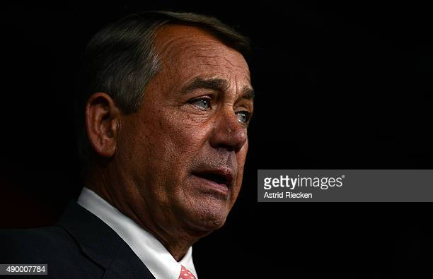 House Speaker John Boehner announces his resignation with tears in his eyes during a press conference on Capitol Hill September 25 2015 in Washington...