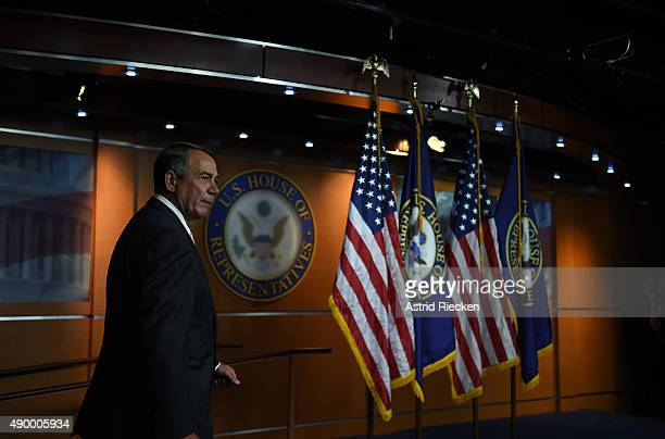 House Speaker John Boehner arrives to announce his resignation during a press conference on Capitol Hill September 25 2015 in Washington DC After 25...