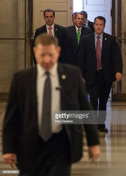 House Speaker John Boehner center rear arrives at the US Capitol in Washington DC on Tues Jan 1 2013 US lawmakers worked hard toward a midnight...