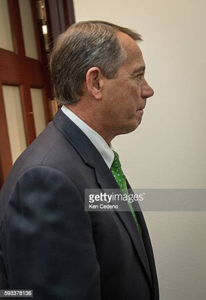 House Speaker John Boehner leaves the Republican caucus meeting at the US Capitol in Washington DC on Tues Jan 1 2013 Photo Ken Cedeno