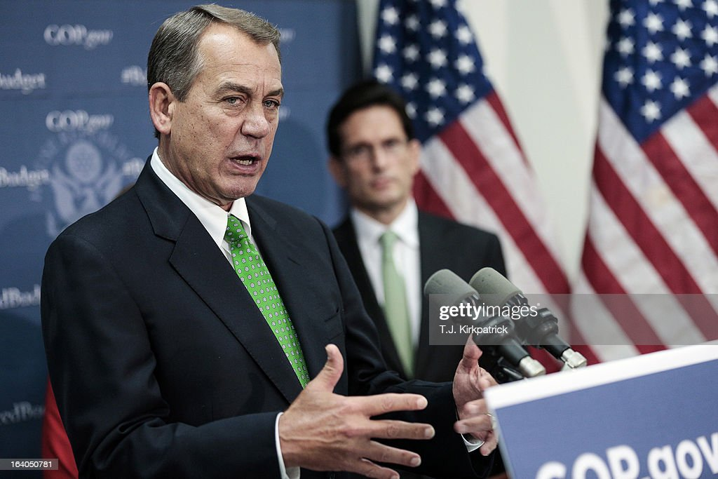 House Speaker <a gi-track='captionPersonalityLinkClicked' href=/galleries/search?phrase=John+Boehner&family=editorial&specificpeople=274752 ng-click='$event.stopPropagation()'>John Boehner</a> (R-OH) speaks about the House Republican's budget plan as House GOP leaders address the media after a party conference on March 19, 2013 in Washington, DC. GOP leaders asked that the president work with them to create a balanced budget plan, citing President Clinton's efforts to work with House Republicans on a budget in the 1990s.