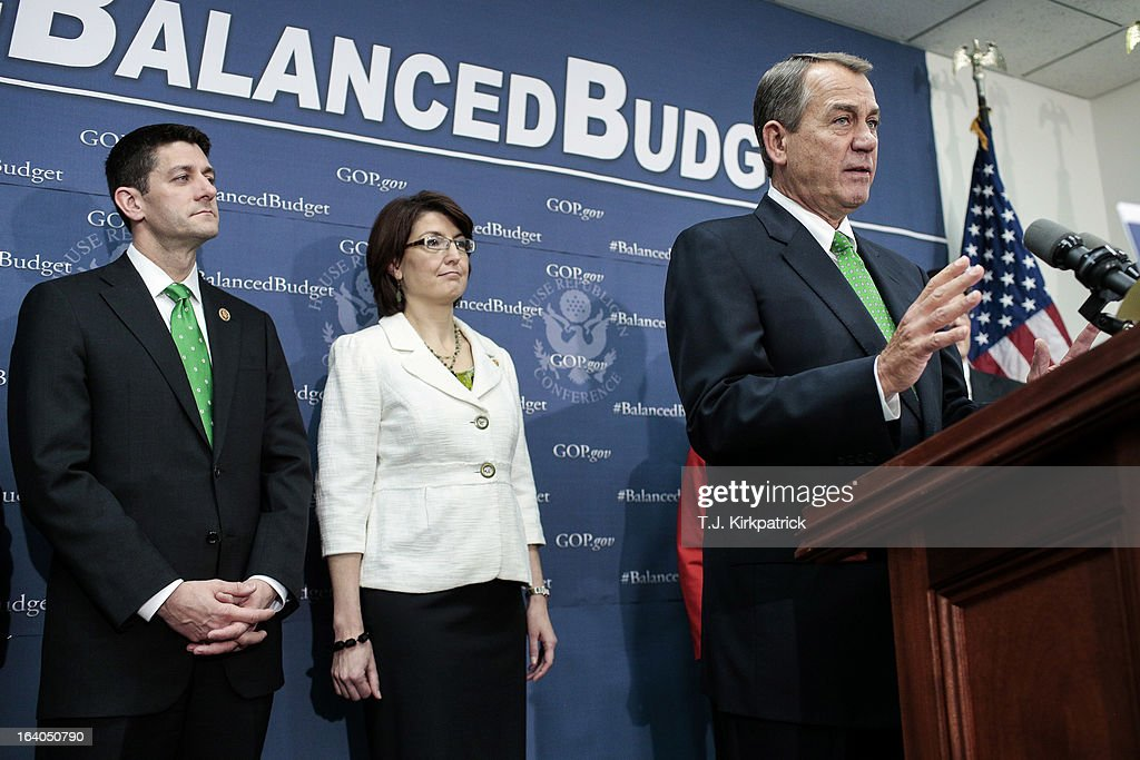 House Speaker John Boehner (R-OH) (R) speaks about the House Republican's budget plan as House GOP leaders, including Rep. Paul Ryan (R-WI) (L) and House Republican Conference Chairman Cathy McMorris Rodgers (R-WA) address the media after a party conference on March 19, 2013 in Washington, DC. GOP leaders asked that the president work with them to create a balanced budget plan, citing President Clinton's efforts to work with House Republicans on a budget in the 1990s.