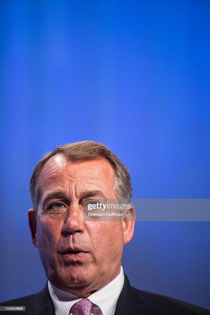 House Speaker <a gi-track='captionPersonalityLinkClicked' href=/galleries/search?phrase=John+Boehner&family=editorial&specificpeople=274752 ng-click='$event.stopPropagation()'>John Boehner</a> (R-OH) speaks at the 2012 Fiscal Summit on May 15, 2012 in Washington, DC. The third annual summit, held by the Peter G. Peterson Foundation, explored the theme 'America's Case for Action.'