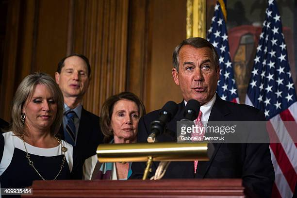 House Speaker John Boehner speaks at the bipartisan signing of the Medicare Access CHIP Reauthorization Act 2015 HR 2 press event at the Capitol on...