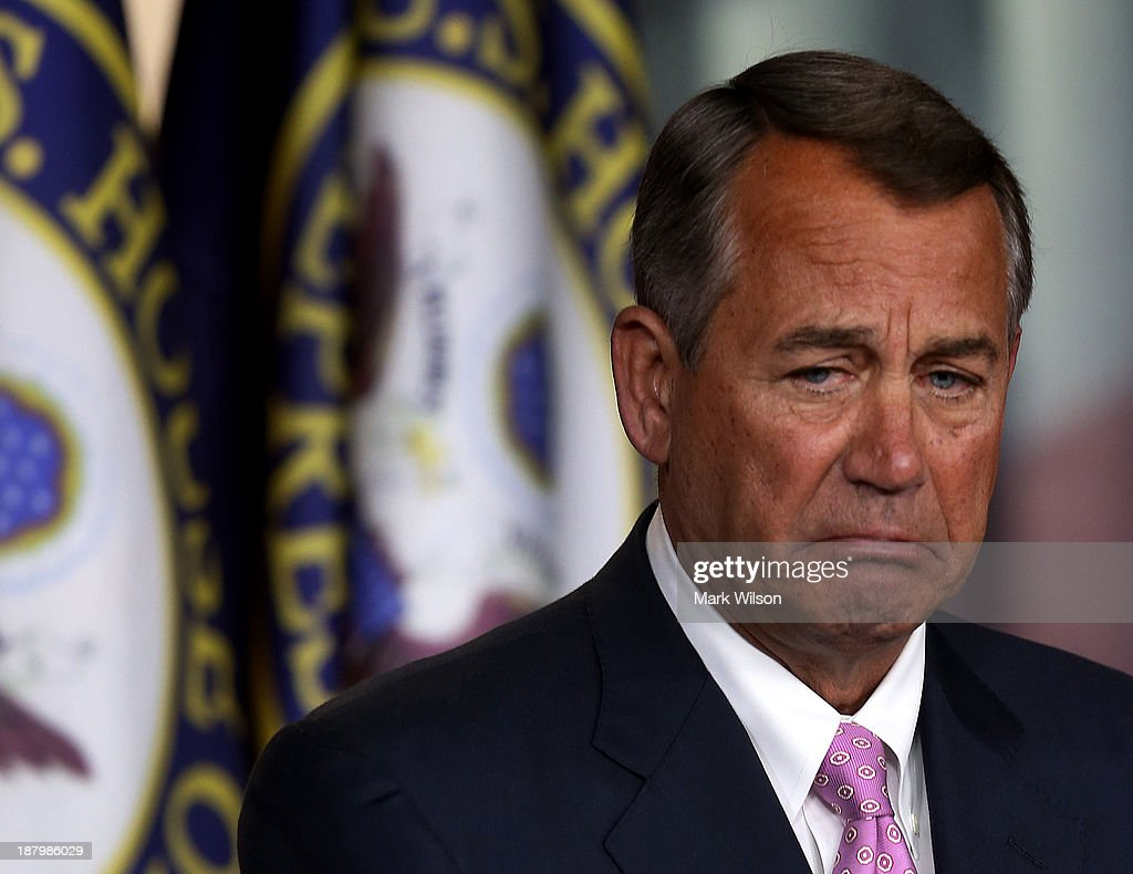 John Boehner Holds Press Briefing At The Capitol