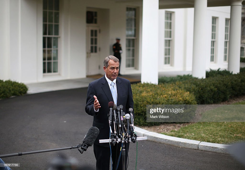 House Speaker <a gi-track='captionPersonalityLinkClicked' href=/galleries/search?phrase=John+Boehner&family=editorial&specificpeople=274752 ng-click='$event.stopPropagation()'>John Boehner</a> speaks to the media after a meeting with U.S. President Barack Obama at the White House, March 1, 2013 in Washington, DC. Speaker Boehner said that no agreement was reached with Democrats to avoid the sequester that will trigger automatic domestic and defense cuts.