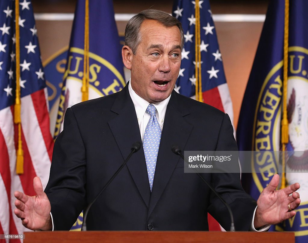 House Speaker <a gi-track='captionPersonalityLinkClicked' href=/galleries/search?phrase=John+Boehner&family=editorial&specificpeople=274752 ng-click='$event.stopPropagation()'>John Boehner</a> (R-OH) speaks to the media during a news conference at the U.S. Capitol, March 26, 2015 in Washington, DC. During his speech, Speaker Boehner called on the House of Representatives to support the Medicare Access and CHIP Reauthorization Act, a bipartisan bill.