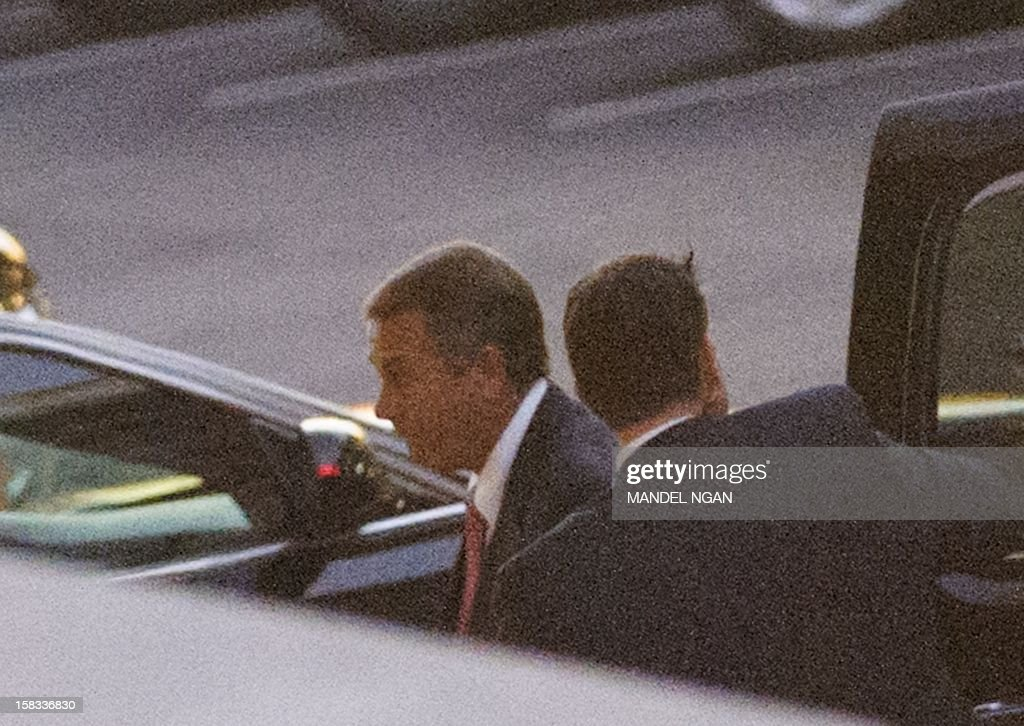 House Speaker John Boehner steps out of his vehicle as he arrives at the Westwing of the White House for a meeting with US President Barack Obama over the deadlock in the 'fiscal cliff' tax and austerity crisis on December 13, 2012 in Washington, DC. AFP PHOTO/Mandel NGAN
